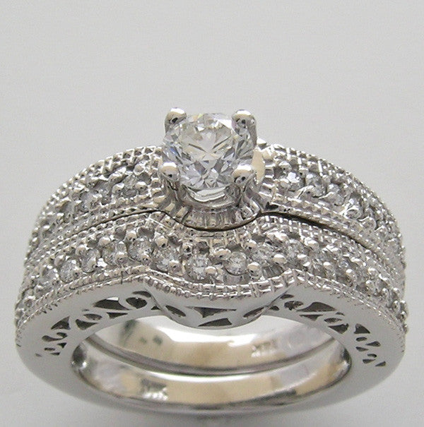 Diamond Bradal Ring Setting Set for a 4.80 mm or Half Carat Round Diamond