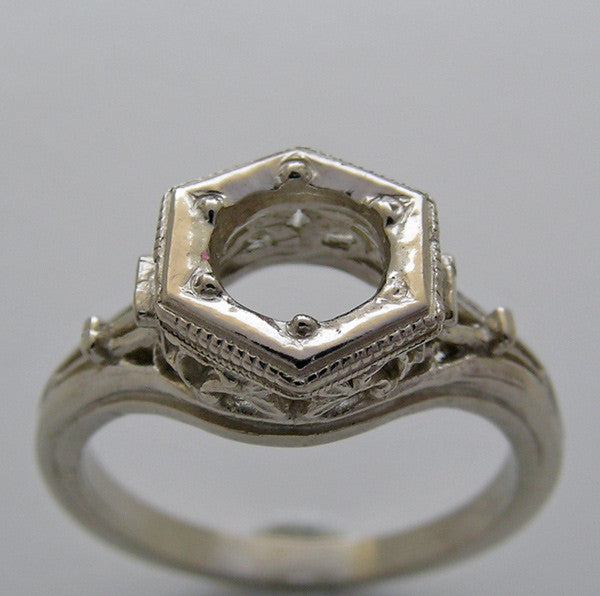 Antique Art Deco Vintage Ring Setting for a 6.00 mm diamond