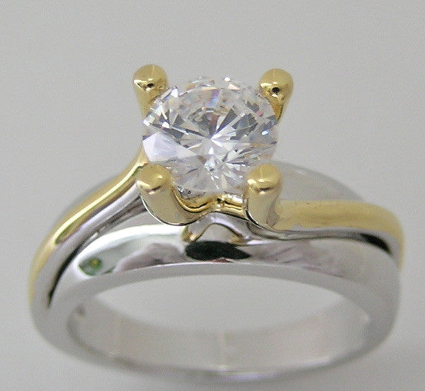 Two Tone Engagement Ring Setting for a 6.50 mm diamond