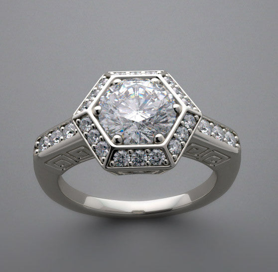 Hexagonal Design Art Deco Style Diamond Engagement Ring Setting for a 1.00 Carat Diamond