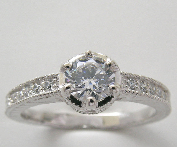 Buttercup Diamond Engagement Ring Setting for a half Carat Rond Diamond