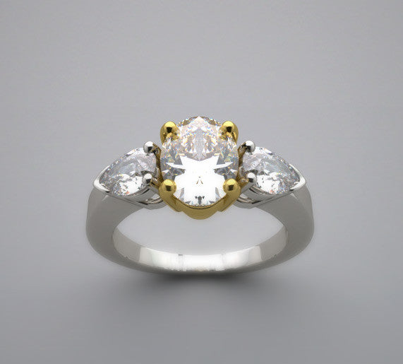 Three Stone Engagement Ring Setting for an oval 8.00 x 6.00 mm