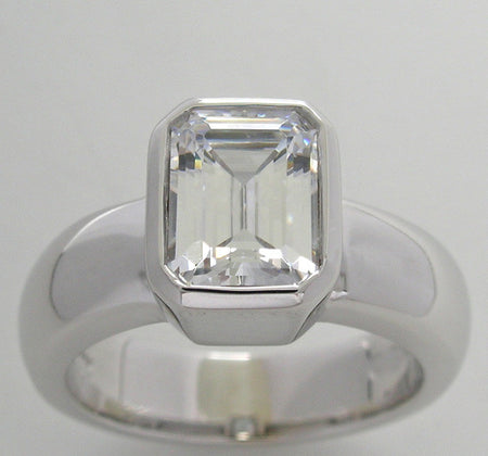 BEZEL HEAVY CLASSIC STYLE RING SETTING FOR EMERALD SHAPE STONE