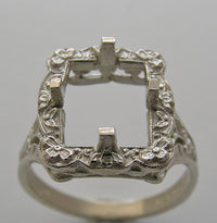 ART NOUVEAU ANTIQUE VINTAGE STYLE RING SETTING FOR EMERALD SHAPE 10.00 X 8.00 MM