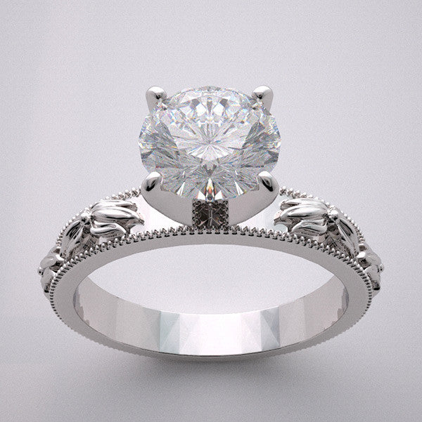 Engagement Floral Blossom Design Antique Style Ring Setting