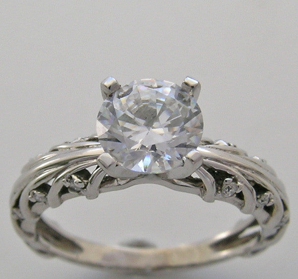 ENGAGEMENT RING SETTING ENTWINED BRANCH DESIGN DIAMOND ACCENT