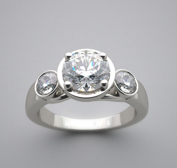 THREE STONE BEZEL SET TYPE DIAMOND ENGAGEMENT RING SETTING FOR A 6.50 MM CENTER DIAMOND
