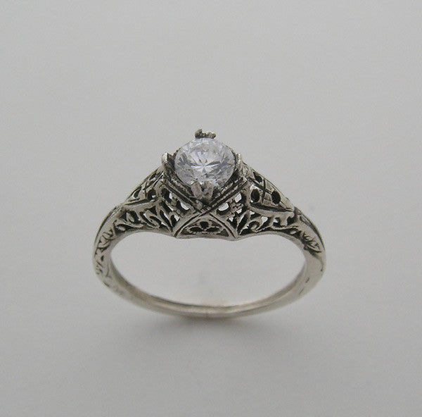 Feminine Old World Petite Art Deco Ring Setting for a 4.50 mm Diamond
