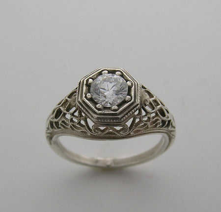 ANTIQUE STYLE FILIGREE RING SETTING FOR A 5.00 MM