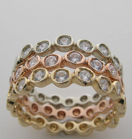 TRI COLOR GOLD DIAMOND WEDDING RING BAND SUITE