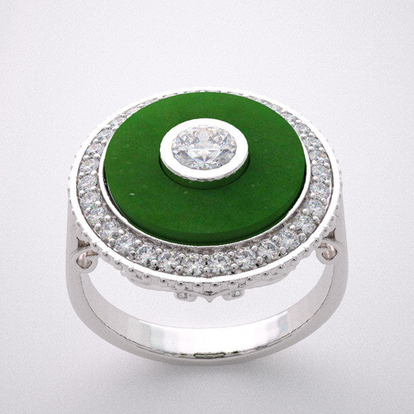 Ring Setting Remount With Jade for a 4.00 mm Round diamond