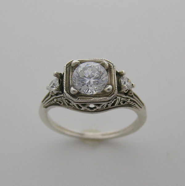 Edwardian Antique Style Ring Setting for a 6.5mm Diamond Size