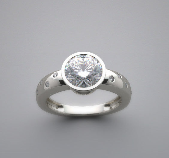 BEZEL ENGAGEMENT RING SETTING WITH FLOATING DIAMONDS, CENTER 6.50 MM
