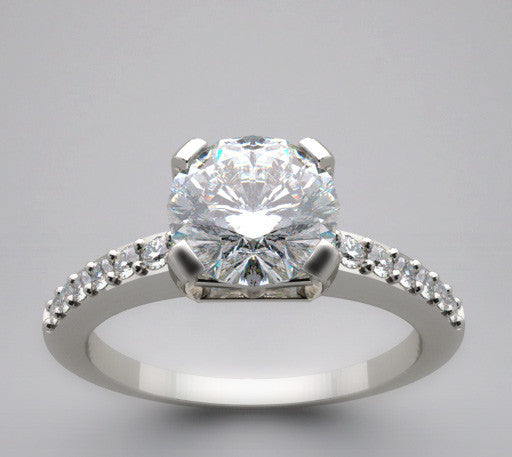 Contemporary Solitaire diamond ring setting for a 1.00 Carat Round Diamond