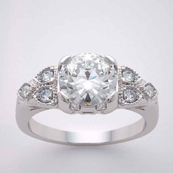 Art Deco style engagement ring setting for a round shape 1.00 Carat Diamond