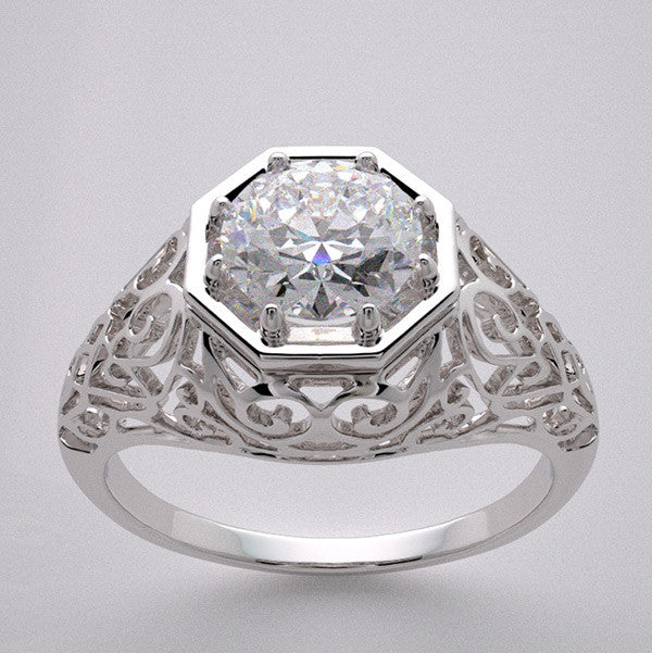 Antique Style Ring Setting for a round gemstone measuring 6.00 mm