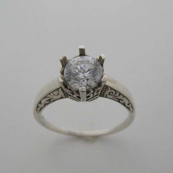14K OLD WORLD RING SETTING WITH ENGRAVING