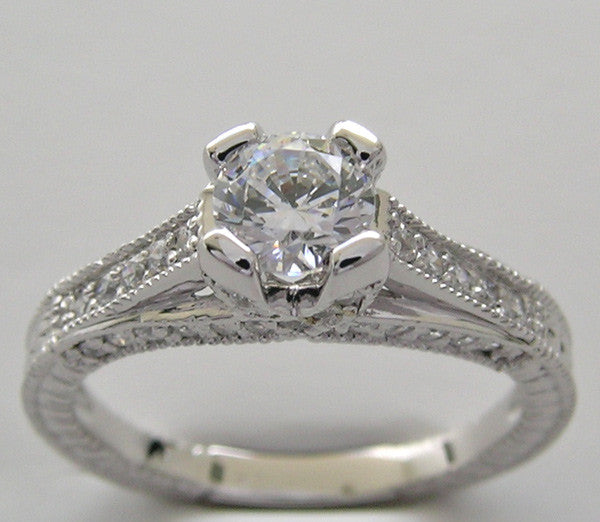 Engagement Diamond Ring Setting for a 5.00 mm Gemstone or a half Carat Diamond