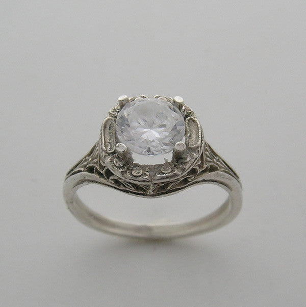 Art Deco Style Filigree Engagement Ring Setting
