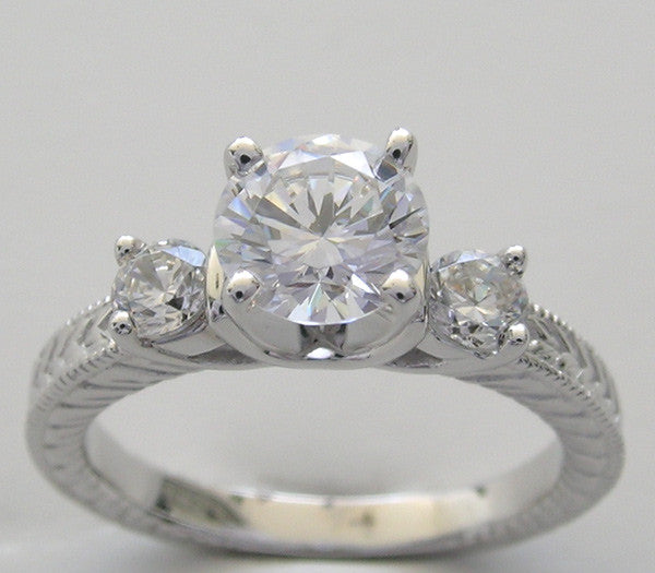 Three Stone Engagement Ring Setting for all size and Shape Center Diamond