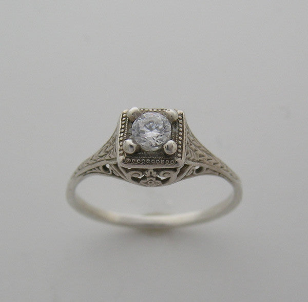 Art Deco Antique Style Design ring setting for a 3.50mm Diamond