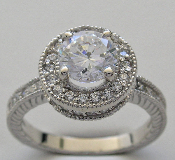 HALO DIAMOND ACCENT ENGAGEMENT RING SETTING FOR A 6.50 MM DIAMOND