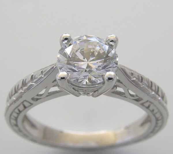 ENGAGEMENT RING SETTING WITH WHEAT DESIGN ENGRAVING