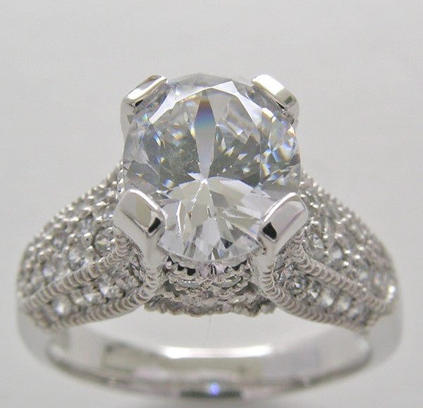 Oval Shape 9.00 x 7.00 mm Diamond Engagement Ring Setting