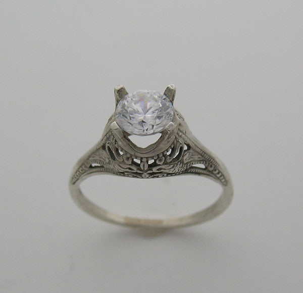 Deco Style Engagement Ring Setting for a 6.00 mm round diamond
