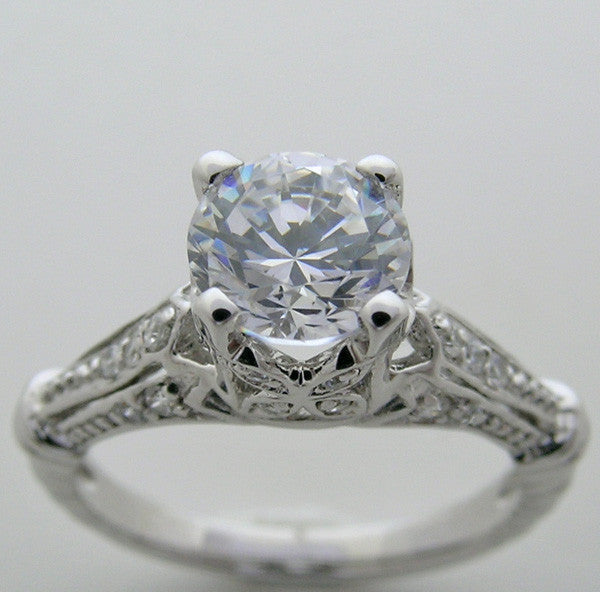 Diamond Engagement Ring Setting Vintage Style for a 6.50 mm Round Diamond