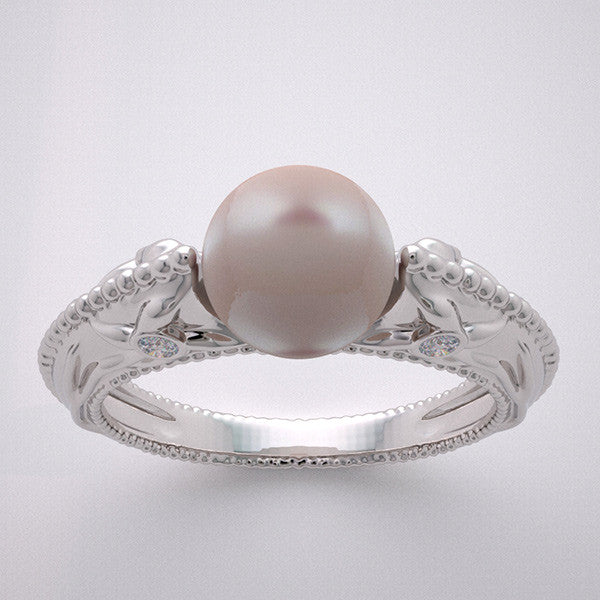 Pearl Pre engagement ring with Floral Diamond Accents
