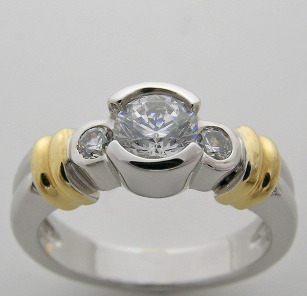 Two Tone Diamond Engagement Ring setting, for a 5.00 center diamond