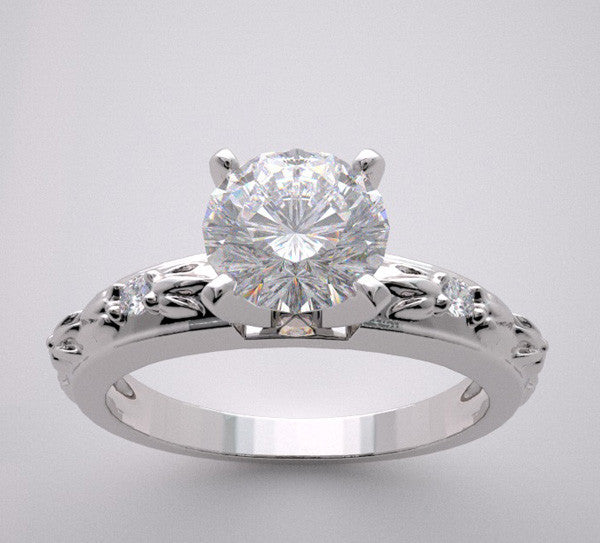 Flower Leaf Motif Design Diamond Ring Setting for All Size and Shape Diamonds