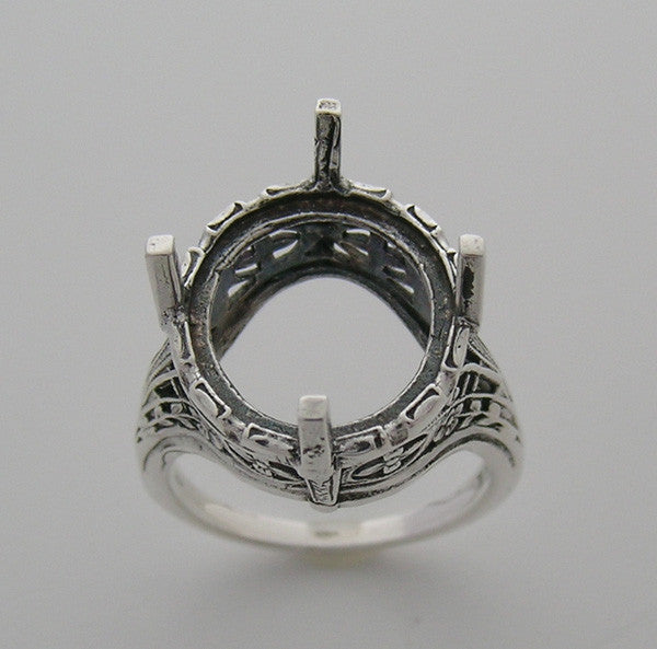 14k Art Nouveau Style ring setting 14 MM