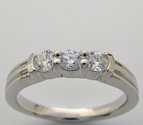 Wedding Band Three Stone Diamond Ring