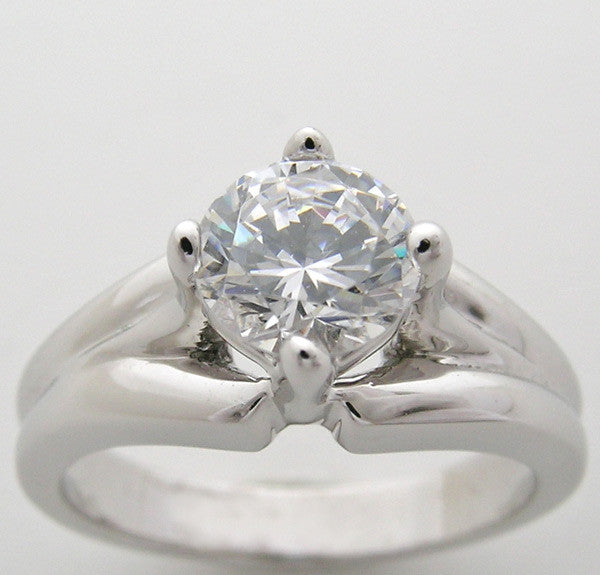 Traditional Ring Setting or Remount shown with a 6.00 mm Center Gemstone