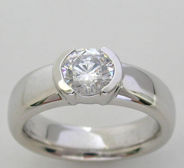 Semi Bezel Engagement ring setting for a 6.5 mm Diamond