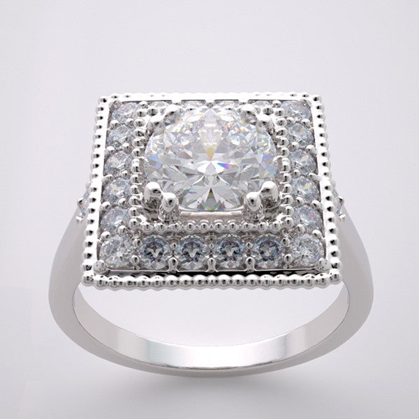 Square Deco Style Engagement Ring Setting for a 6.5mm Diamond