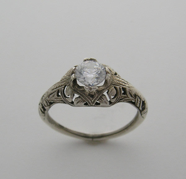Antique Art Deco Filigree Style Ring Setting for a 5.00 mm Center Diamond