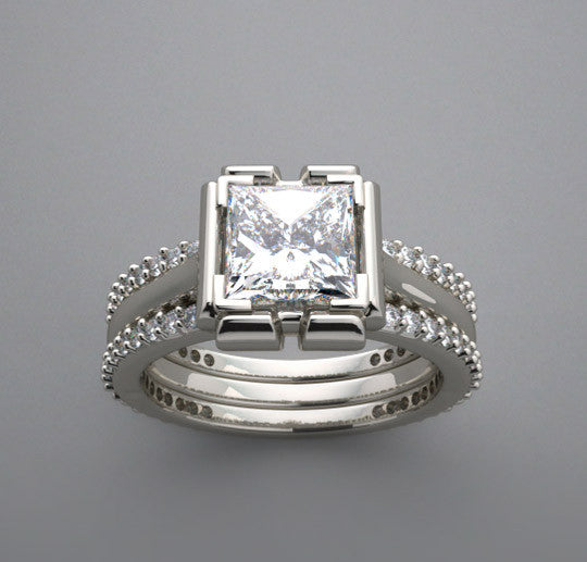 SPLIT SHANK DIAMOND ENGAGEMENT RING SETTING SHOWN FOR A PRINCESS CUT 6.00 X 6.00 MM CENTER DIAMOND