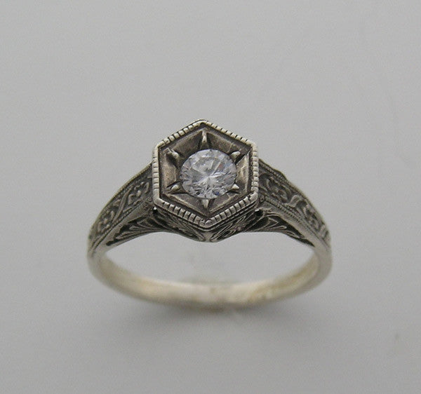 Art Deco Vintage Style 14k White Gold Ring Setting for a 4.50 mm Center Stone