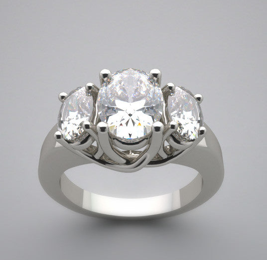 TRENDY OVAL THREE STONE ENGAGEMENT RING SETTING REMOUNT RING