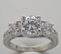 THREE STONE DIAMOND ENGAGEMENT BRIDAL RING SETTING  FOR A 6.50 MM CENTER DIAMOND