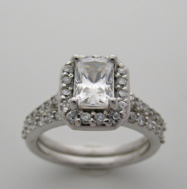 DECO STYLE DIAMOND ACCENT ENGAGEMENT BRIDAL RING SETTING EMERALD CUT 7.00 X 5.00 MM
