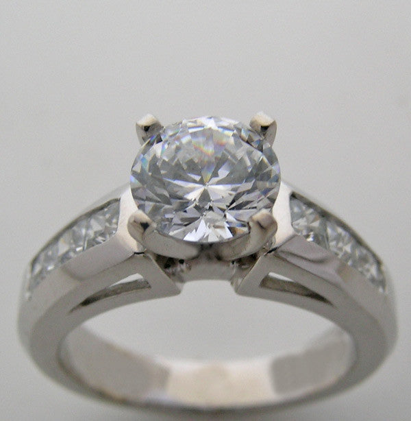 Princess Cut set in Channel Diamond Ring Setting Shown for a 6.50mm diamond