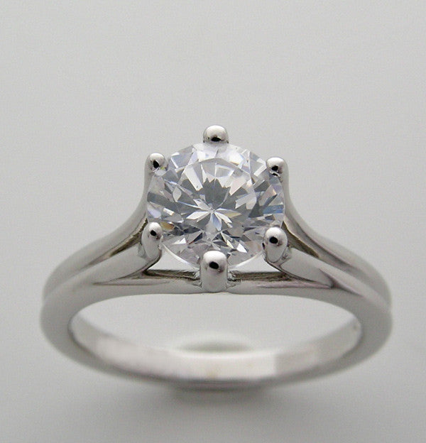 TIMELESS SOLITAIRE SIX PRONG ENGAGEMENT RING SETTING FOR A 1.00 CARAT ROUND DIAMOND