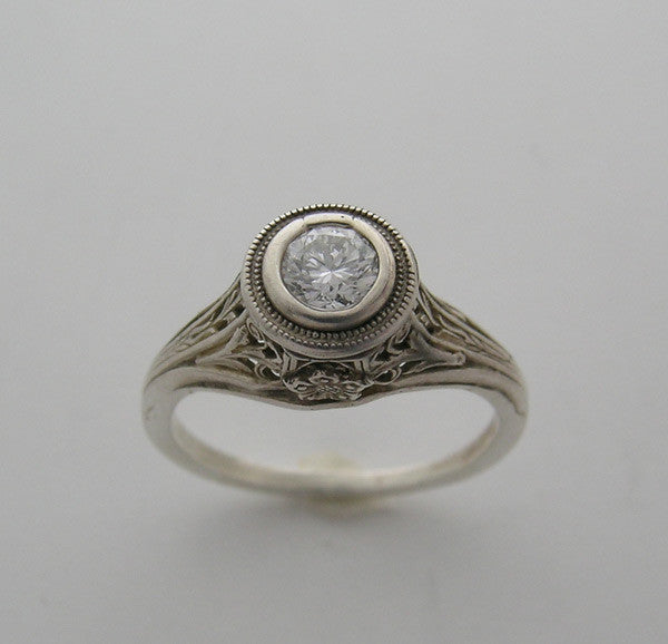 Gold Vintage Engraved Art Deco Bezel Ring Setting 4.MM