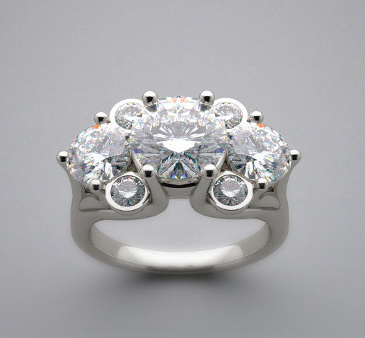 UNIQUE HEIRLOOM STYLE ENGAGMENT RING SETTING SHOW FOR A 7.00 MM CENTER DIAMOND