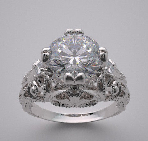 Art Deco Antique Style Diamond Ring Setting for a 7.00 mm Center Diamond