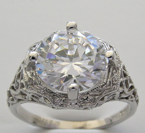 ART DECO FILIGREE LARGE ROUND STONE 9.5 MM RING SETTING